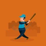 Joueur de baseball - pâte lisse Illustration plate de vecteur Image libre de droits