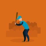Joueur de baseball - pâte lisse Illustration plate de vecteur Photos stock