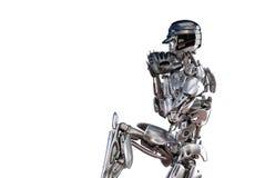 Joueur de baseball de robot dans l'action, d'isolement Concept de technologie d'intelligence artificielle de robot de cyborg illu illustration stock