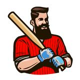 Joueur de baseball tenant la batte de baseball Concept de sport Illustration de vecteur de dessin animé Photo stock