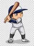 Joueur de baseball tenant la batte de baseball Images stock