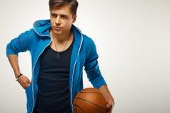 Joueur de basket avec la bille Portrait images libres de droits
