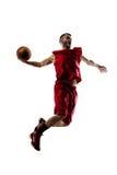 Joueur de basket dans l'action d'isolement sur le blanc image stock