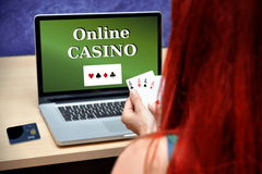 Joueur de casino de tisonnier Photographie stock libre de droits