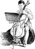 Joueur de contrebasse illustration stock
