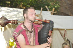 Joueur de cornemuse, festival médiéval, Nuremberg 2013 Images libres de droits