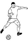 Joueur de football d'athlète de croquis avec la bille Photo stock