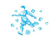 Joueur de football d'illustration de vecteur de formes polygonales illustration stock