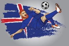 Joueur de football de l'Islande avec le drapeau comme fond illustration stock
