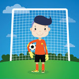 Joueur de football, gardien de but mignon de garçon d'A Image stock