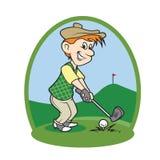Joueur de golf de bande dessinée de garçon Photographie stock