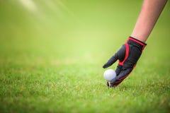 Joueur de golf et boule de golg sur la pièce en t outre du vert photographie stock