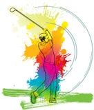 Joueur de golf, homme d'A donnant un coup de pied la boule de golf Images stock