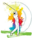 Joueur de golf, homme d'A donnant un coup de pied la boule de golf Image libre de droits