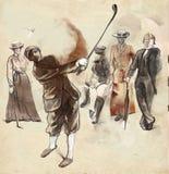Joueur de golf - une illustration tirée par la main et peinte illustration stock