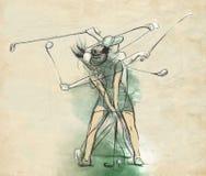 Joueur de golf - une illustration tirée par la main et peinte illustration de vecteur