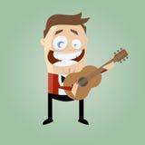 Joueur de guitare drôle Image libre de droits