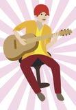 Joueur de guitare sur un fond brillant. Images libres de droits