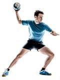 Joueur de handball d'homme d'isolement image stock