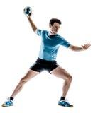 Joueur de handball d'homme d'isolement images libres de droits