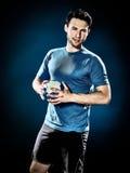 Joueur de handball d'homme d'isolement images stock