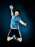 Joueur de handball d'homme d'isolement photographie stock libre de droits