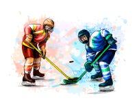 Joueur de hockey abstrait de l'éclaboussure des aquarelles Croquis tiré par la main Sport d'hiver illustration libre de droits