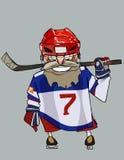 Joueur de hockey barbu comique de bande dessinée avec le bâton de hockey Images stock
