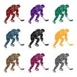 Joueur de hockey dans la pleine vitesse avec un bâton jouant l'hockey Sport d'active d'hiver l'active folâtre l'icône simple dans Photos libres de droits