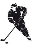Joueur de hockey, silhouette Photographie stock libre de droits