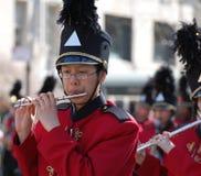 Joueur de petite flûte, défilé de jour de rue Patrick de New York Images stock