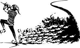 Joueur de pipeau pie de Hamlin avec des rats Images libres de droits