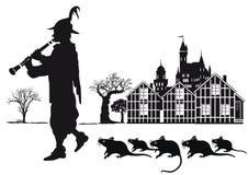 Joueur de pipeau pie de ville de Hamelin avec des rats illustration libre de droits