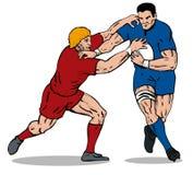 Joueur de rugby étant abordé 2 Images stock
