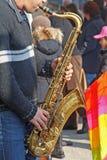 Joueur de saxo Photographie stock libre de droits