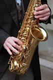 Joueur de saxo Photos stock