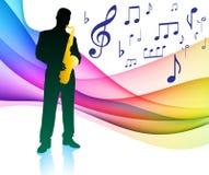 Joueur de saxo sur le spectre de couleur de note musicale illustration libre de droits