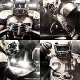 Joueur de sportif de football américain sur le stade avec des lumières sur le fond Photographie stock libre de droits