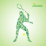 Joueur de tennis abstrait donnant un coup de pied la boule Illustration Stock