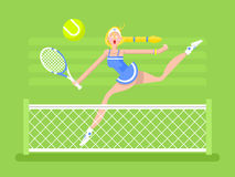 Joueur de tennis de femme de personnage de dessin animé Photographie stock