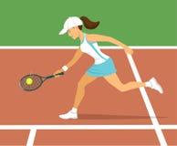 Joueur de tennis de femme sur la cour illustration stock