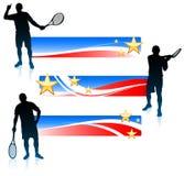Joueur de tennis et ensemble de bannière des Etats-Unis Photos stock