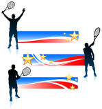 Joueur de tennis et ensemble de bannière des Etats-Unis Image libre de droits