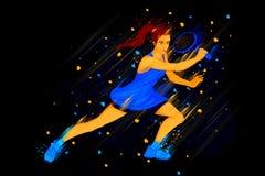 Joueur de tennis féminin illustration de vecteur