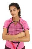 Joueur de tennis féminin avec l'assiette photographie stock