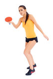 Joueur de tennis féminin de tabne prêt à servir Photographie stock