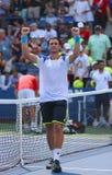 Joueur de tennis professionnel David Ferrer après son match de rond de victoire troisième à l'US Open 2013 contre Mikhail Kukushki Image libre de droits
