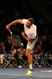 Joueur de tennis professionnel Jack Sock des Etats-Unis dans l'action pendant événement de tennis d'anniversaire d'épreuve de for Image stock