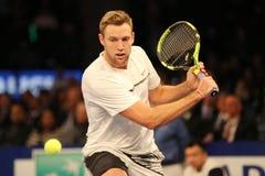 Joueur de tennis professionnel Jack Sock des Etats-Unis dans l'action pendant événement de tennis d'anniversaire d'épreuve de for Images stock
