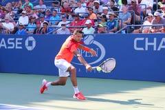 Joueur de tennis professionnel Jo-Wilfried Tsonga pendant le match de rond de l'US Open 2014 d'abord Photo stock